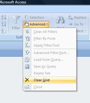 Clear Query Grid